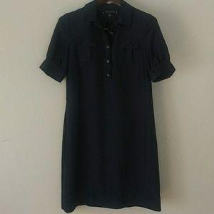 Banana Republic, navy, silk shirt dress